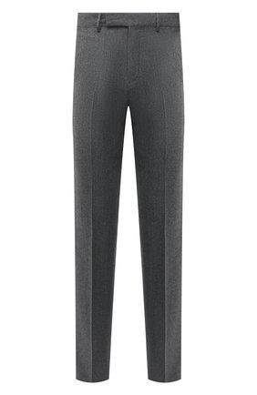 Мужские шерстяные брюки ERMENEGILDO ZEGNA серого цвета, арт. E30F24/75TB12 | Фото 1 (Материал подклада: Вискоза; Длина (брюки, джинсы): Стандартные; Материал внешний: Шерсть; Случай: Повседневный; Стили: Кэжуэл)