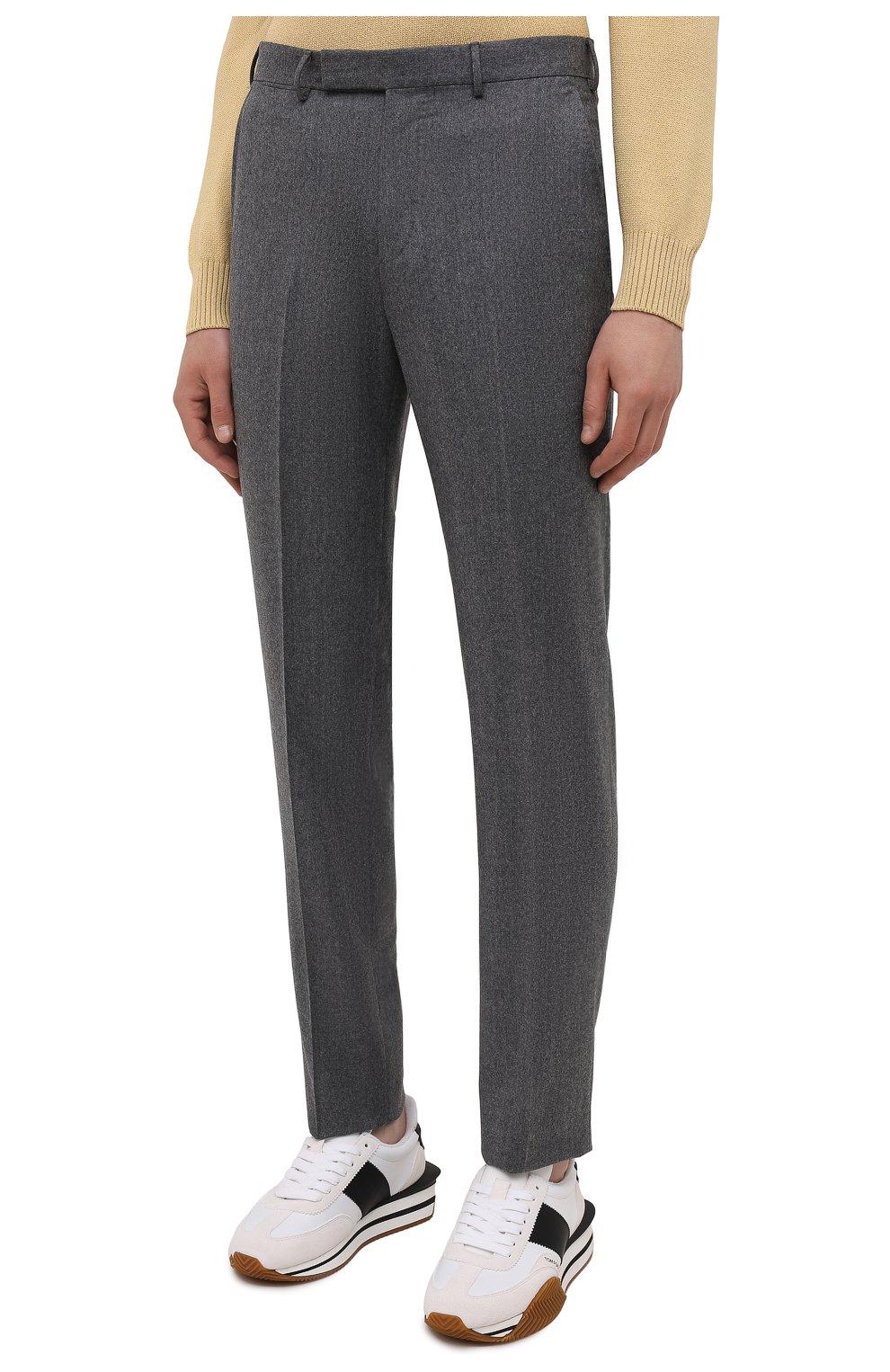 Мужские шерстяные брюки ERMENEGILDO ZEGNA серого цвета, арт. E30F24/75TB12   Фото 3