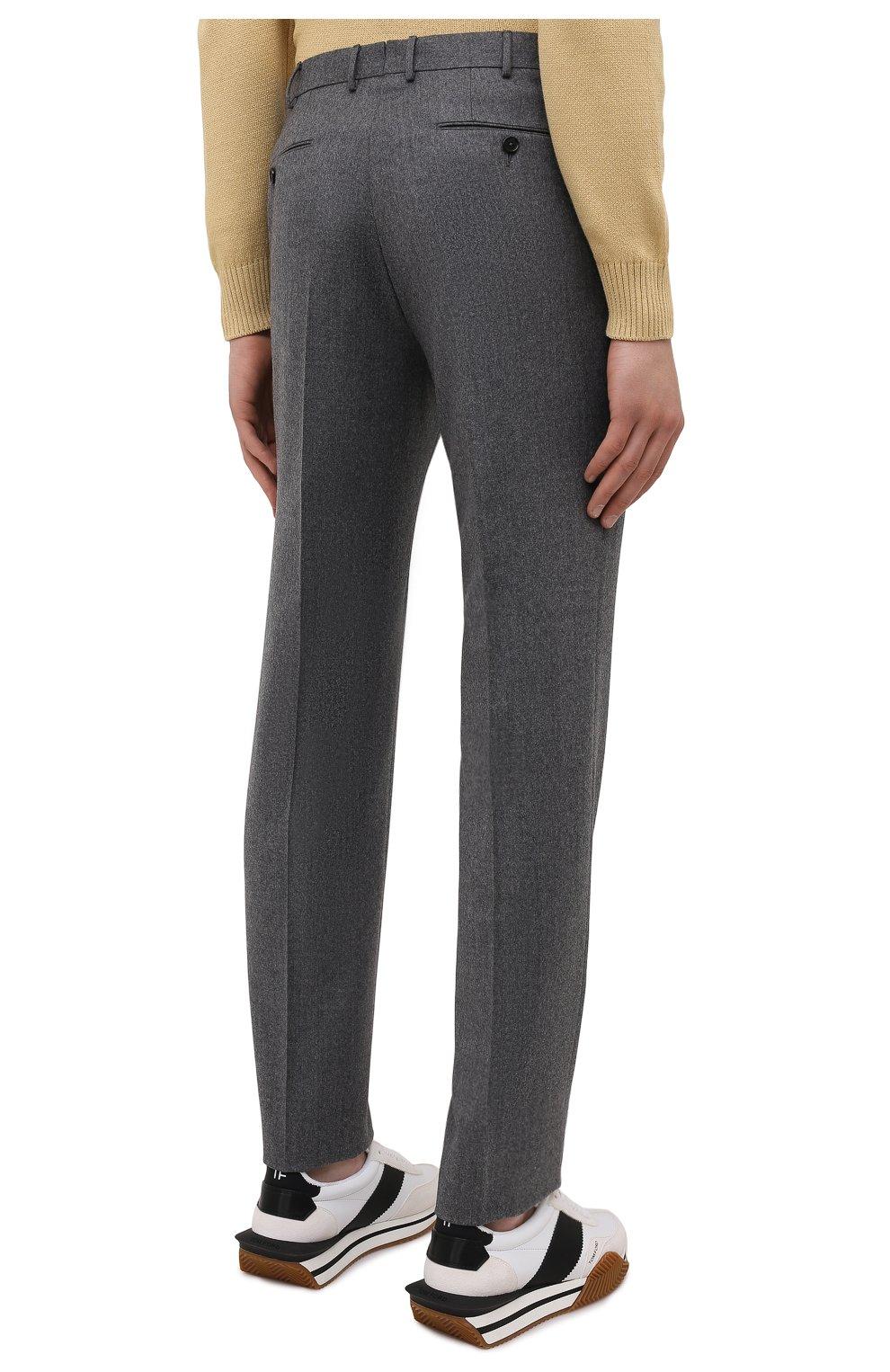 Мужские шерстяные брюки ERMENEGILDO ZEGNA серого цвета, арт. E30F24/75TB12   Фото 4