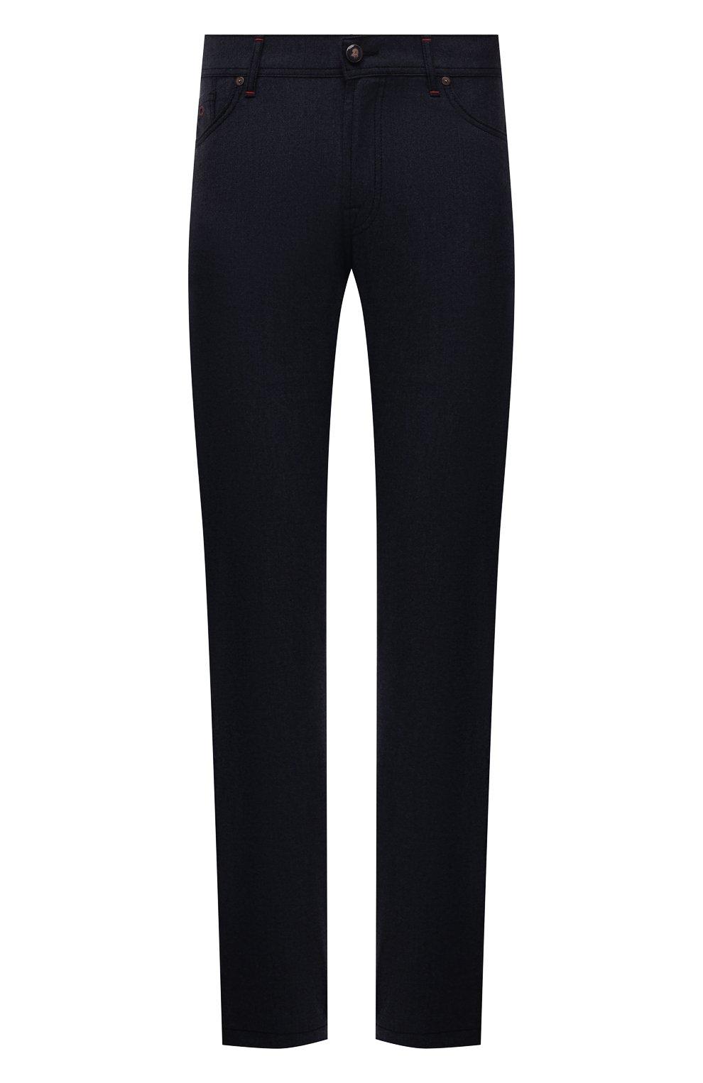 Мужские кашемировые брюки MARCO PESCAROLO темно-синего цвета, арт. NERAN0M18/ZIP/4442 | Фото 1 (Материал внешний: Шерсть, Кашемир; Длина (брюки, джинсы): Стандартные; Случай: Повседневный; Стили: Кэжуэл)
