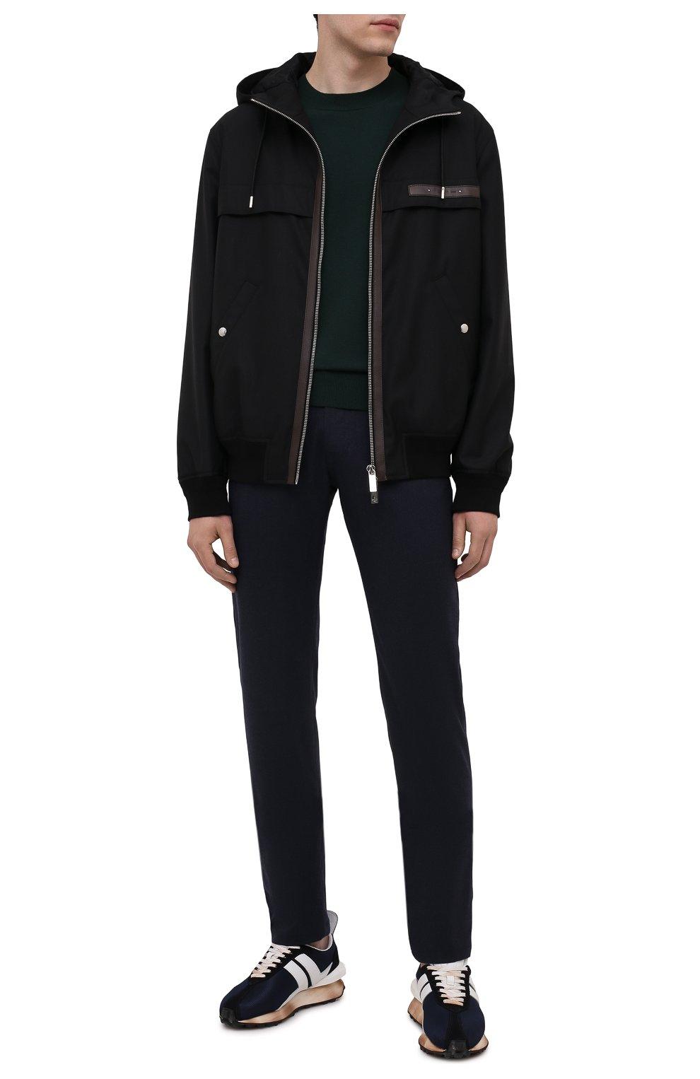Мужские кашемировые брюки MARCO PESCAROLO темно-синего цвета, арт. NERAN0M18/ZIP/4442 | Фото 2 (Материал внешний: Шерсть, Кашемир; Длина (брюки, джинсы): Стандартные; Случай: Повседневный; Стили: Кэжуэл)
