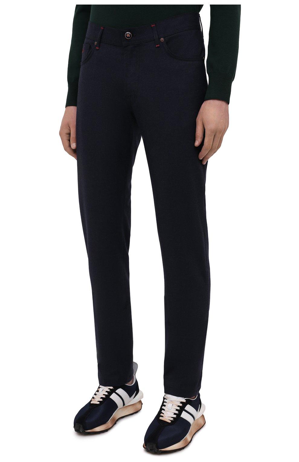Мужские кашемировые брюки MARCO PESCAROLO темно-синего цвета, арт. NERAN0M18/ZIP/4442 | Фото 3 (Материал внешний: Шерсть, Кашемир; Длина (брюки, джинсы): Стандартные; Случай: Повседневный; Стили: Кэжуэл)