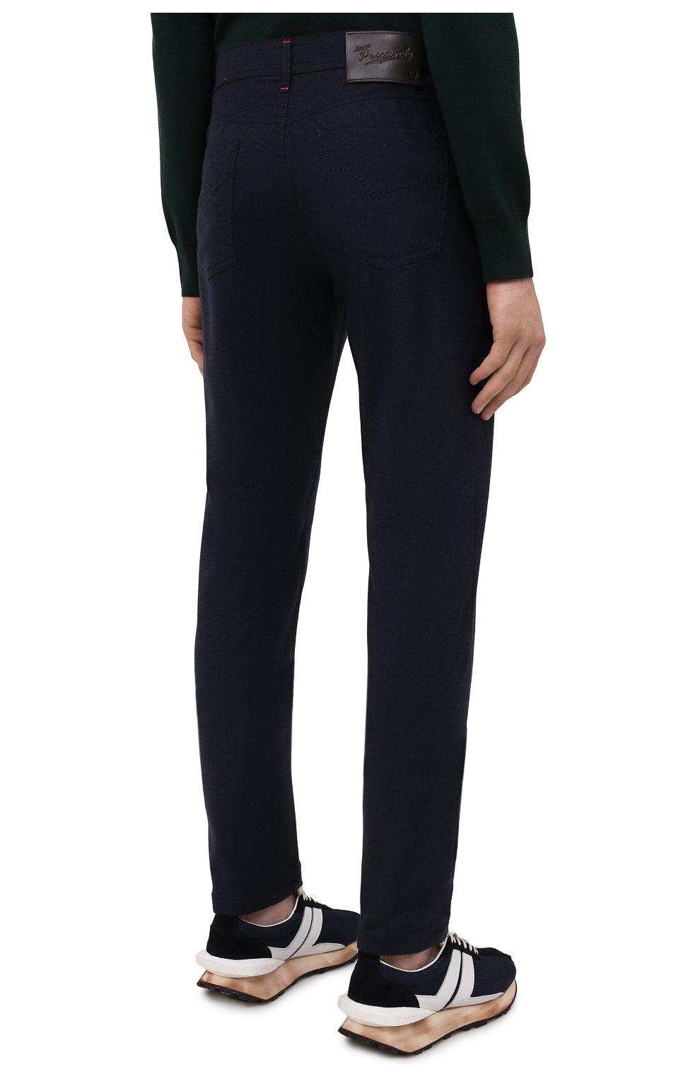 Мужские кашемировые брюки MARCO PESCAROLO темно-синего цвета, арт. NERAN0M18/ZIP/4442 | Фото 4 (Материал внешний: Шерсть, Кашемир; Длина (брюки, джинсы): Стандартные; Случай: Повседневный; Стили: Кэжуэл)