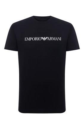 Мужская хлопковая футболка EMPORIO ARMANI темно-синего цвета, арт. 8N1TN5/1JPZZ | Фото 1 (Рукава: Короткие; Длина (для топов): Стандартные; Материал внешний: Хлопок; Стили: Кэжуэл)