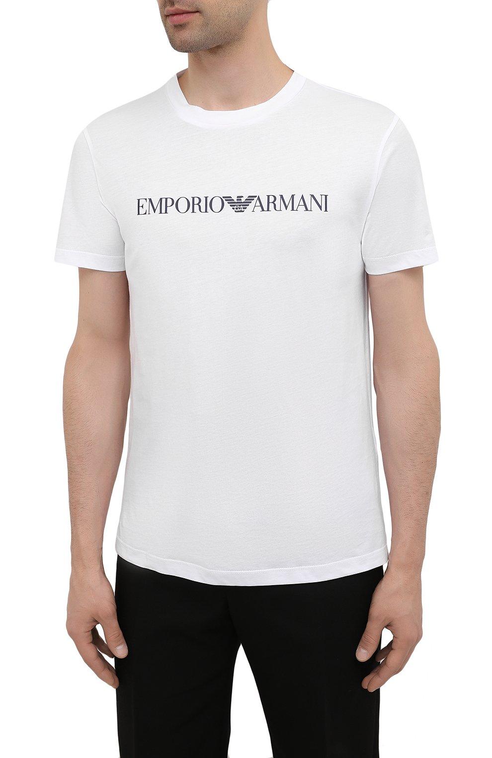 Мужская хлопковая футболка EMPORIO ARMANI белого цвета, арт. 8N1TN5/1JPZZ   Фото 3 (Рукава: Короткие; Длина (для топов): Стандартные; Принт: С принтом; Материал внешний: Хлопок; Стили: Кэжуэл)