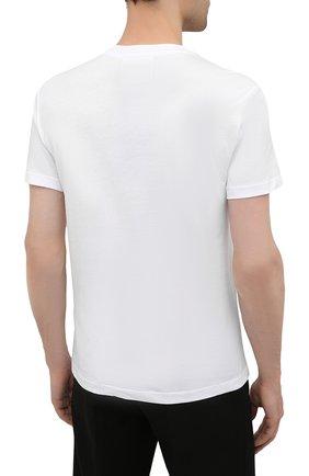 Мужская хлопковая футболка EMPORIO ARMANI белого цвета, арт. 8N1TN5/1JPZZ   Фото 4 (Рукава: Короткие; Длина (для топов): Стандартные; Принт: С принтом; Материал внешний: Хлопок; Стили: Кэжуэл)