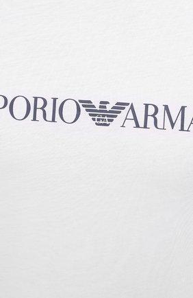 Мужская хлопковая футболка EMPORIO ARMANI белого цвета, арт. 8N1TN5/1JPZZ   Фото 5 (Рукава: Короткие; Длина (для топов): Стандартные; Принт: С принтом; Материал внешний: Хлопок; Стили: Кэжуэл)