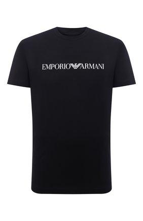 Мужская хлопковая футболка EMPORIO ARMANI черного цвета, арт. 8N1TN5/1JPZZ | Фото 1 (Материал внешний: Хлопок; Длина (для топов): Стандартные; Рукава: Короткие; Стили: Кэжуэл)