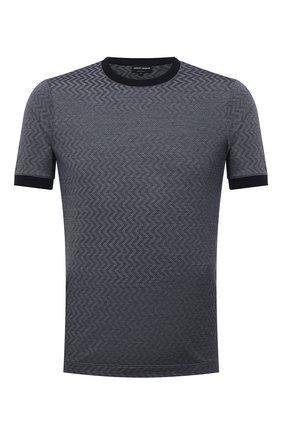 Мужская футболка из хлопка и шелка GIORGIO ARMANI темно-синего цвета, арт. 6KSM59/SJVGZ   Фото 1 (Рукава: Короткие; Материал внешний: Хлопок, Шелк; Длина (для топов): Стандартные; Стили: Кэжуэл; Принт: С принтом)