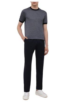 Мужская футболка из хлопка и шелка GIORGIO ARMANI темно-синего цвета, арт. 6KSM59/SJVGZ   Фото 2 (Рукава: Короткие; Материал внешний: Хлопок, Шелк; Длина (для топов): Стандартные; Стили: Кэжуэл; Принт: С принтом)