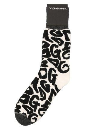 Мужские носки DOLCE & GABBANA черно-белого цвета, арт. GXG55T/JACKV | Фото 1