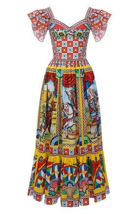 Женское хлопковое платье DOLCE & GABBANA желтого цвета, арт. F6G8RT/GDS11 | Фото 1