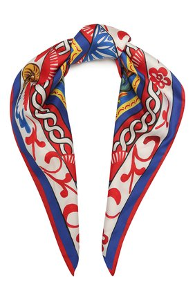 Женский шелковый платок DOLCE & GABBANA синего цвета, арт. FN087R/FI1T1 | Фото 1