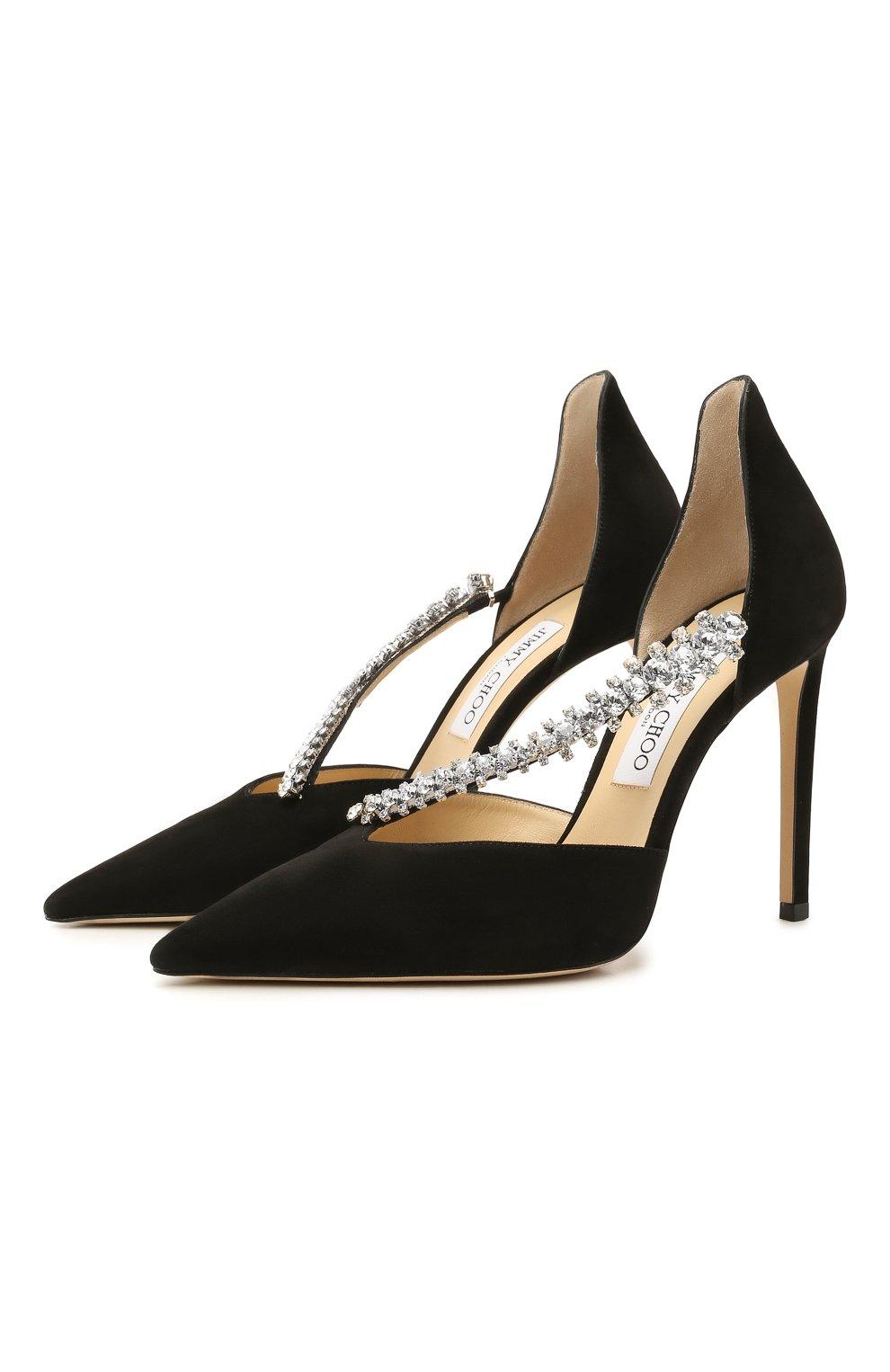 Женские замшевые туфли bee 100 JIMMY CHOO черного цвета, арт. BEE 100/SIW   Фото 1 (Каблук высота: Высокий; Материал внутренний: Натуральная кожа; Каблук тип: Шпилька; Подошва: Плоская; Материал внешний: Замша)