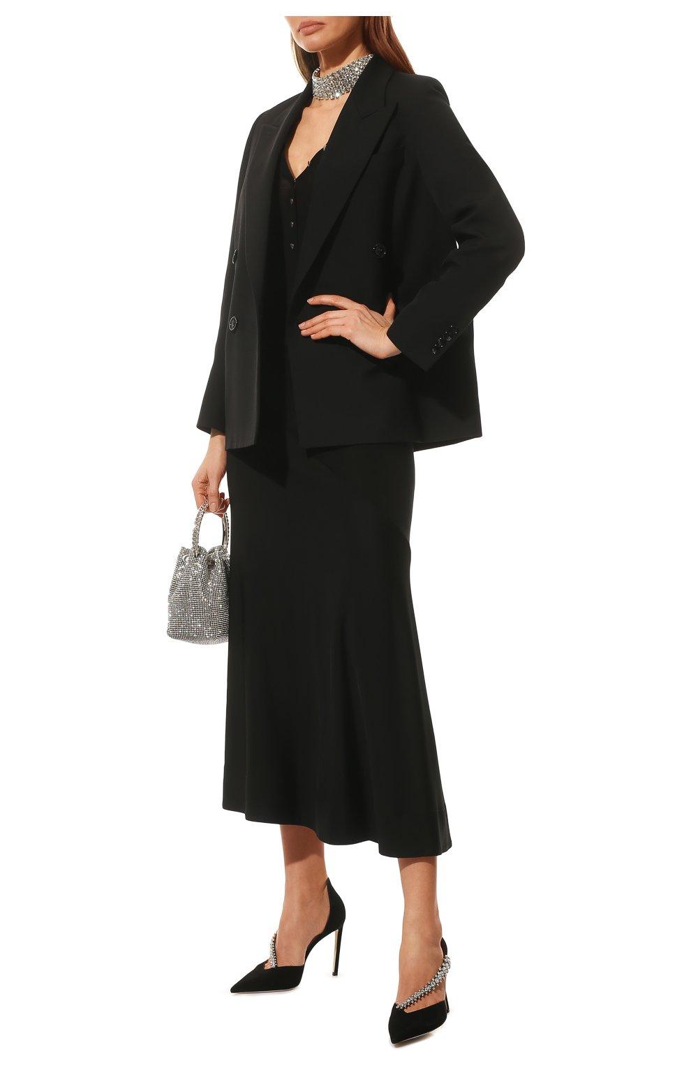 Женские замшевые туфли bee 100 JIMMY CHOO черного цвета, арт. BEE 100/SIW   Фото 2 (Каблук высота: Высокий; Материал внутренний: Натуральная кожа; Каблук тип: Шпилька; Подошва: Плоская; Материал внешний: Замша)