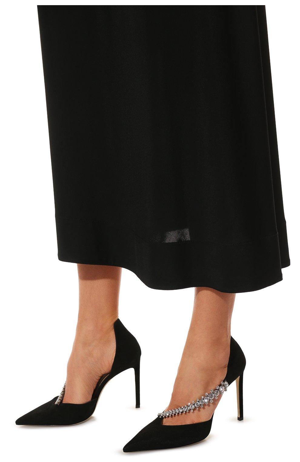 Женские замшевые туфли bee 100 JIMMY CHOO черного цвета, арт. BEE 100/SIW   Фото 3 (Каблук высота: Высокий; Материал внутренний: Натуральная кожа; Каблук тип: Шпилька; Подошва: Плоская; Материал внешний: Замша)