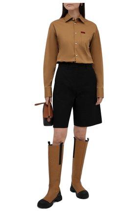 Женская хлопковая рубашка DSQUARED2 бежевого цвета, арт. S75DL0784/S35175 | Фото 2
