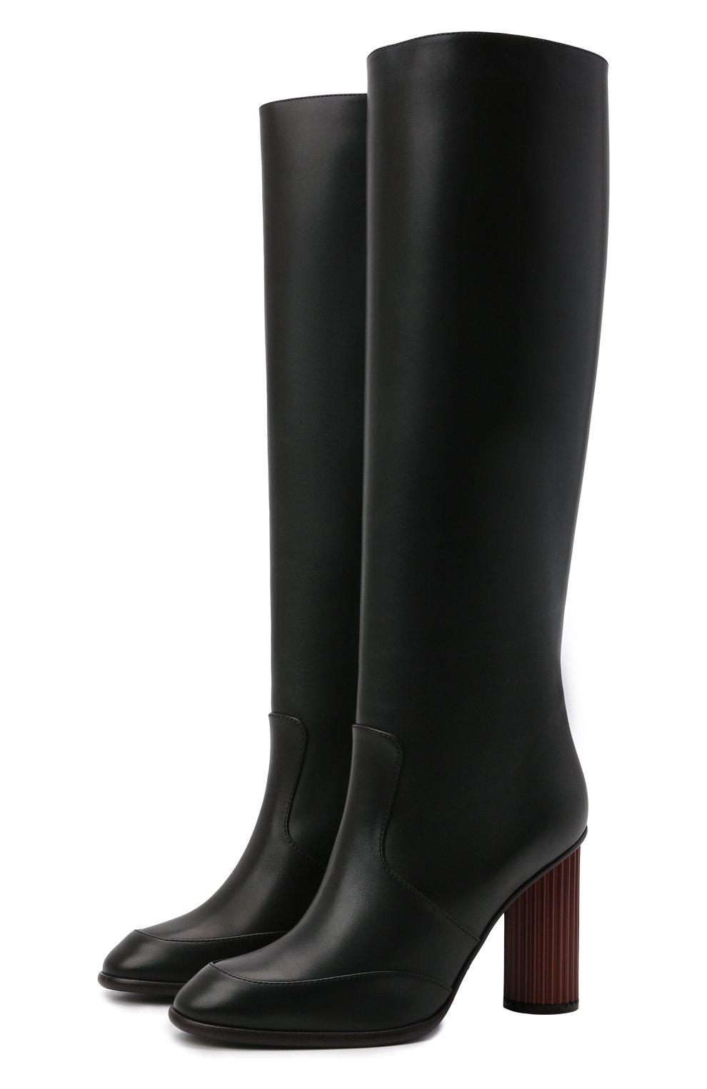 Женские кожаные сапоги LORO PIANA черного цвета, арт. FAL7745 | Фото 1
