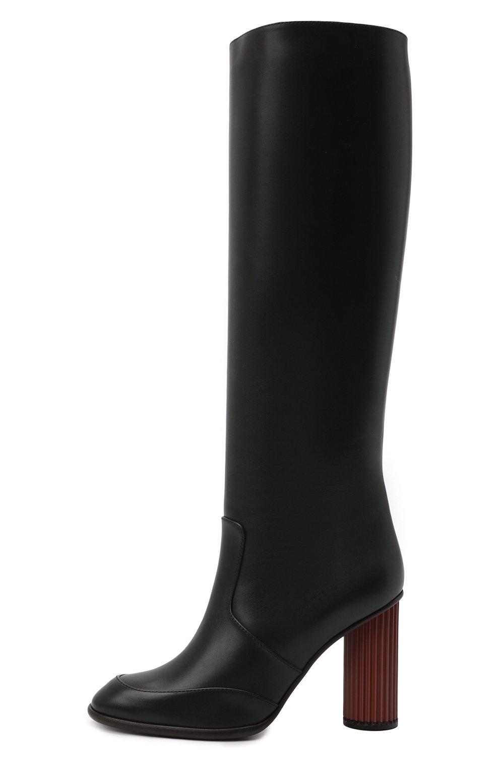 Женские кожаные сапоги LORO PIANA черного цвета, арт. FAL7745 | Фото 3