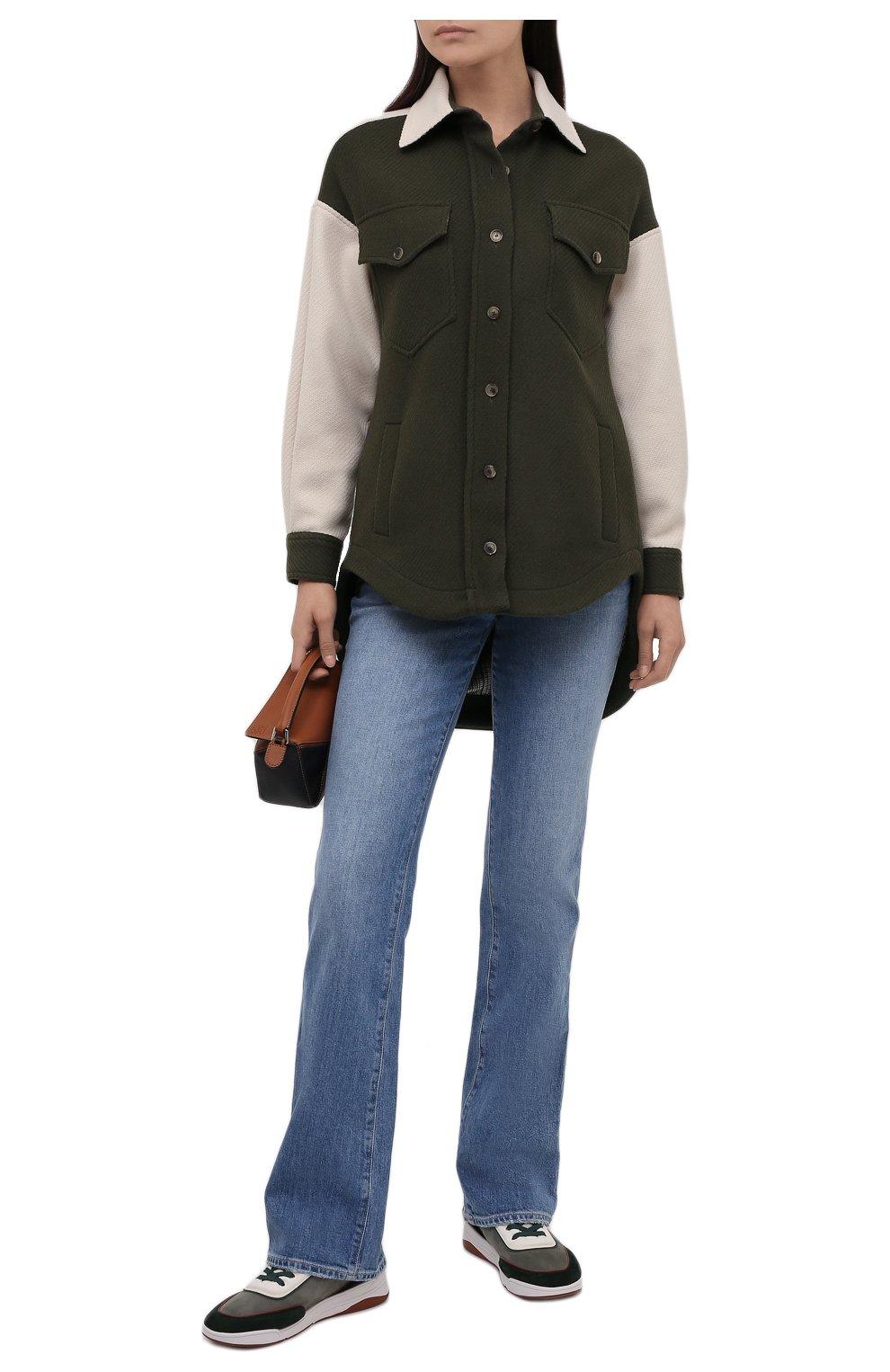 Женские кожаные кроссовки LORO PIANA зеленого цвета, арт. FAL7984 | Фото 2