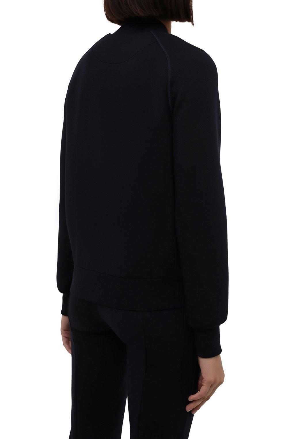 Женский кардиган из шерсти и вискозы GIORGIO ARMANI темно-синего цвета, арт. 6KAB50/AJDFZ | Фото 4