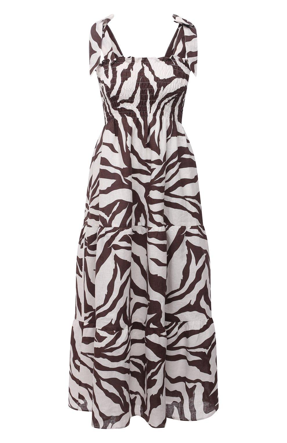 Женское льняное платье FAITHFULL THE BRAND коричневого цвета, арт. FF1584-JVP | Фото 1