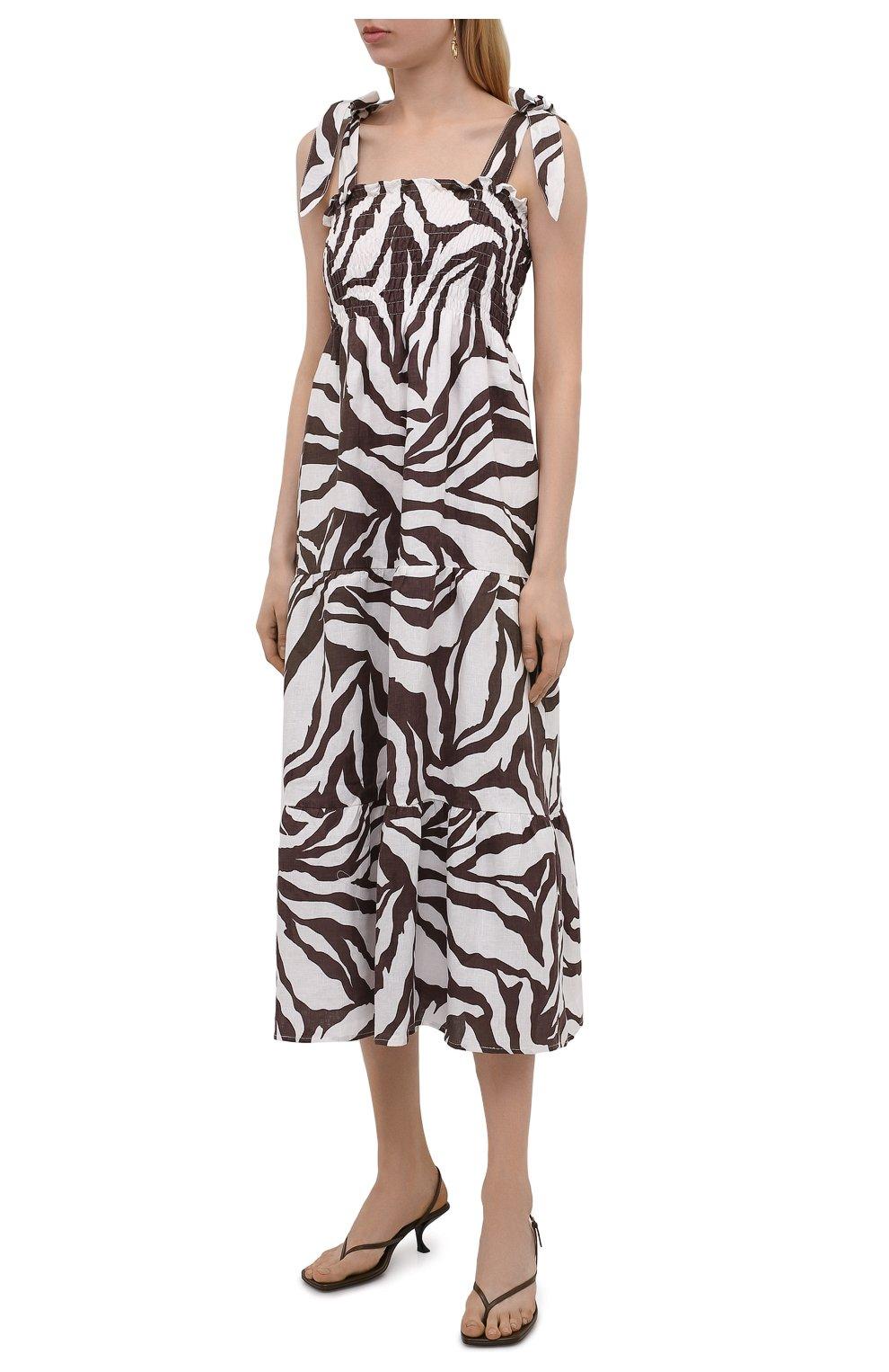 Женское льняное платье FAITHFULL THE BRAND коричневого цвета, арт. FF1584-JVP | Фото 3