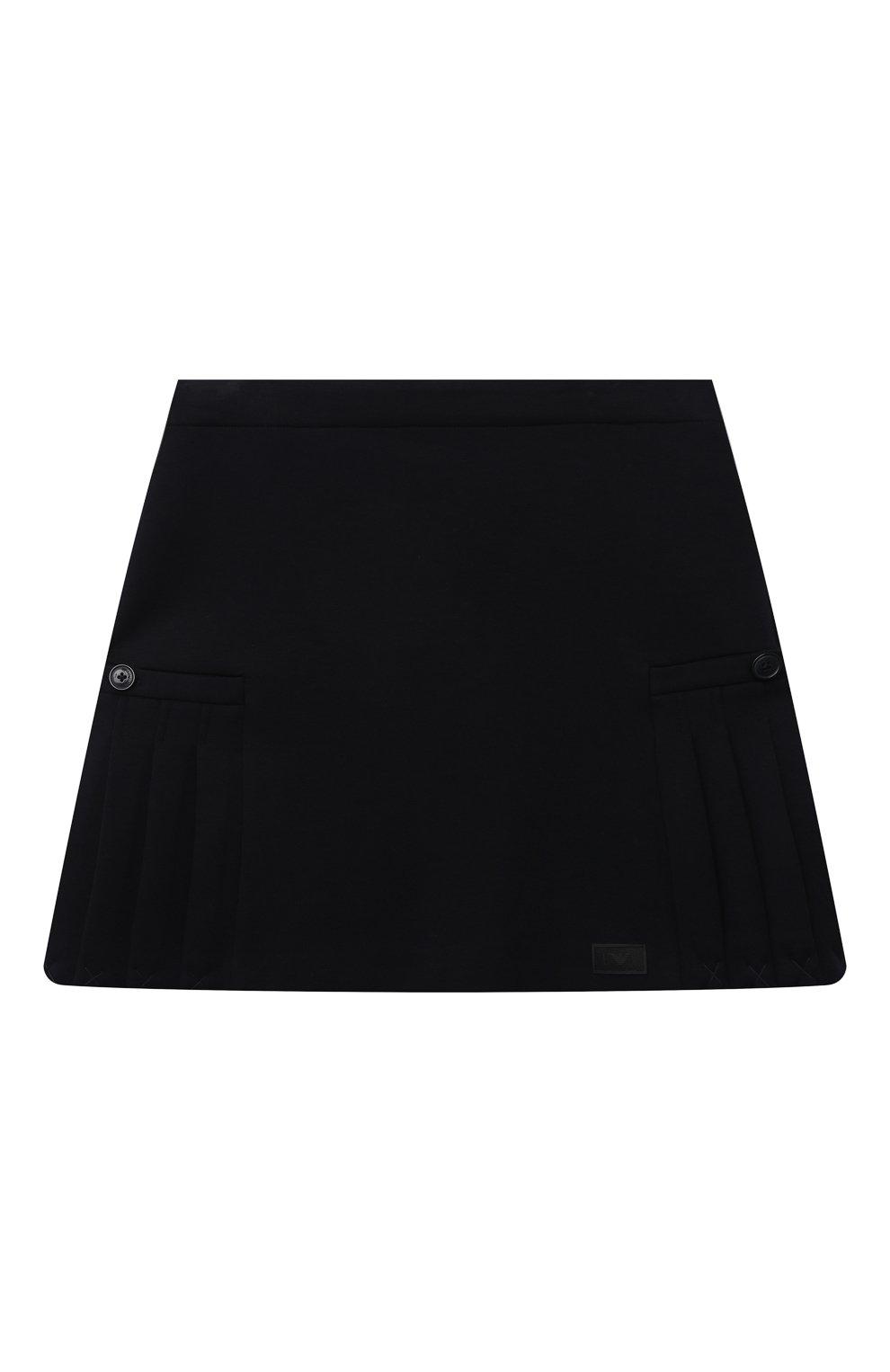 Детская хлопковая юбка EMPORIO ARMANI темно-синего цвета, арт. 6K3N08/1JHSZ   Фото 1