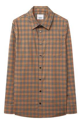 Детская хлопковая рубашка BURBERRY бежевого цвета, арт. 8042957 | Фото 1
