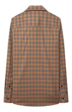 Детская хлопковая рубашка BURBERRY бежевого цвета, арт. 8042957 | Фото 2
