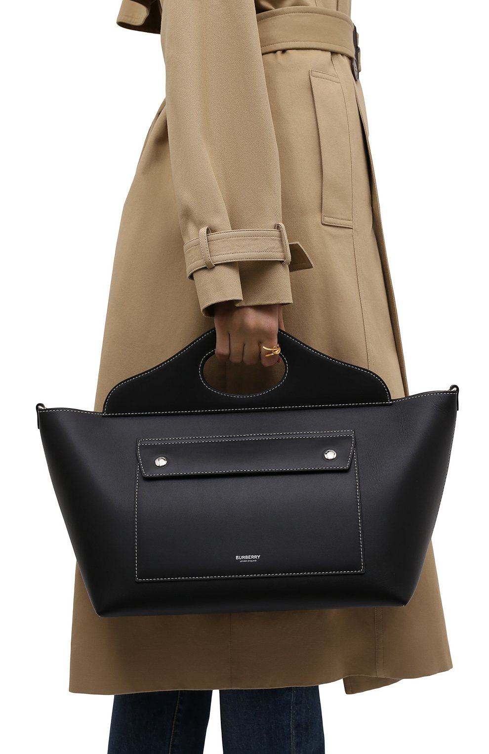 Женская сумка pocket BURBERRY черного цвета, арт. 8041745 | Фото 2