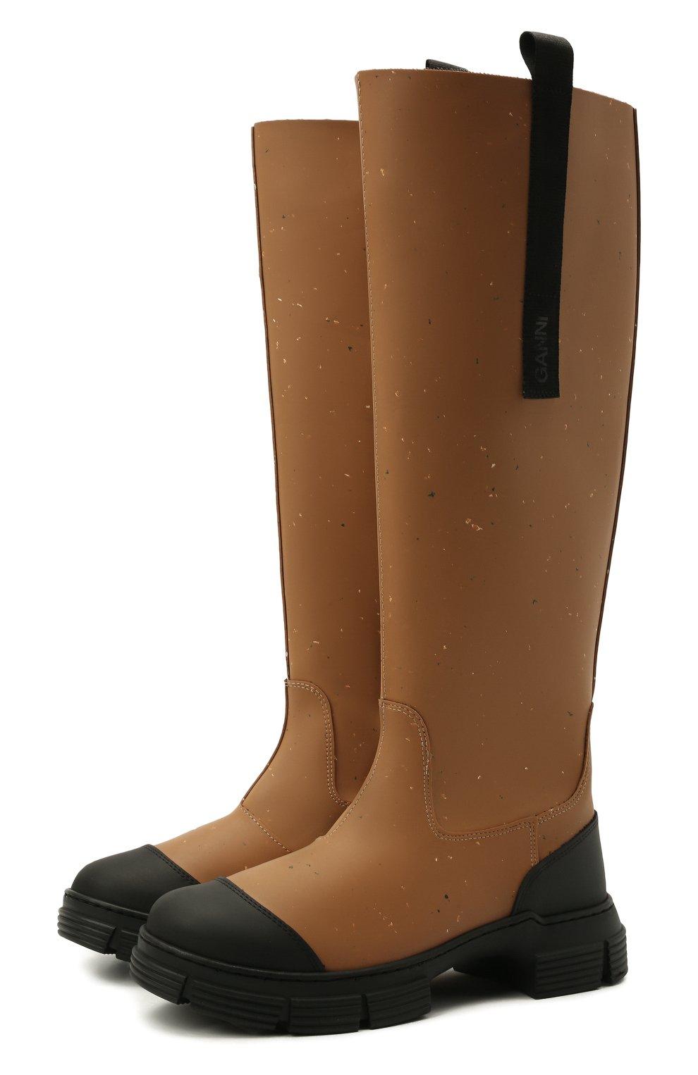 Женские резиновые сапоги GANNI коричневого цвета, арт. S1467 | Фото 1