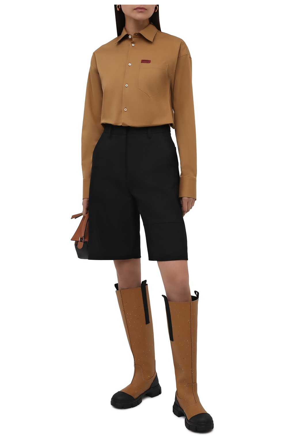 Женские резиновые сапоги GANNI коричневого цвета, арт. S1467 | Фото 2