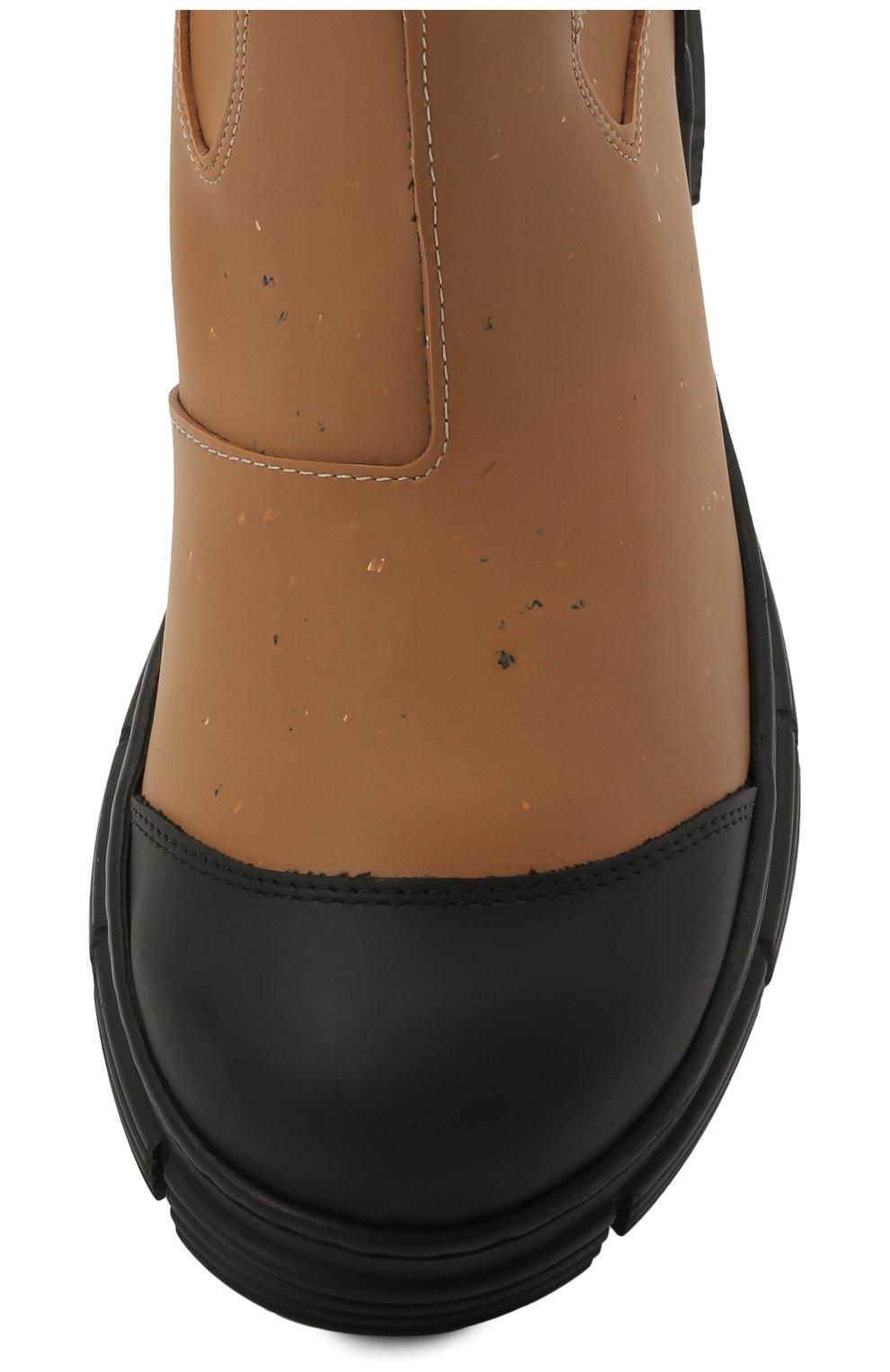 Женские резиновые сапоги GANNI коричневого цвета, арт. S1467 | Фото 5