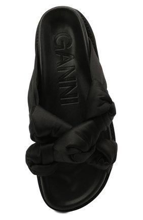 Женские комбинированные шлепанцы GANNI черного цвета, арт. S1489 | Фото 5