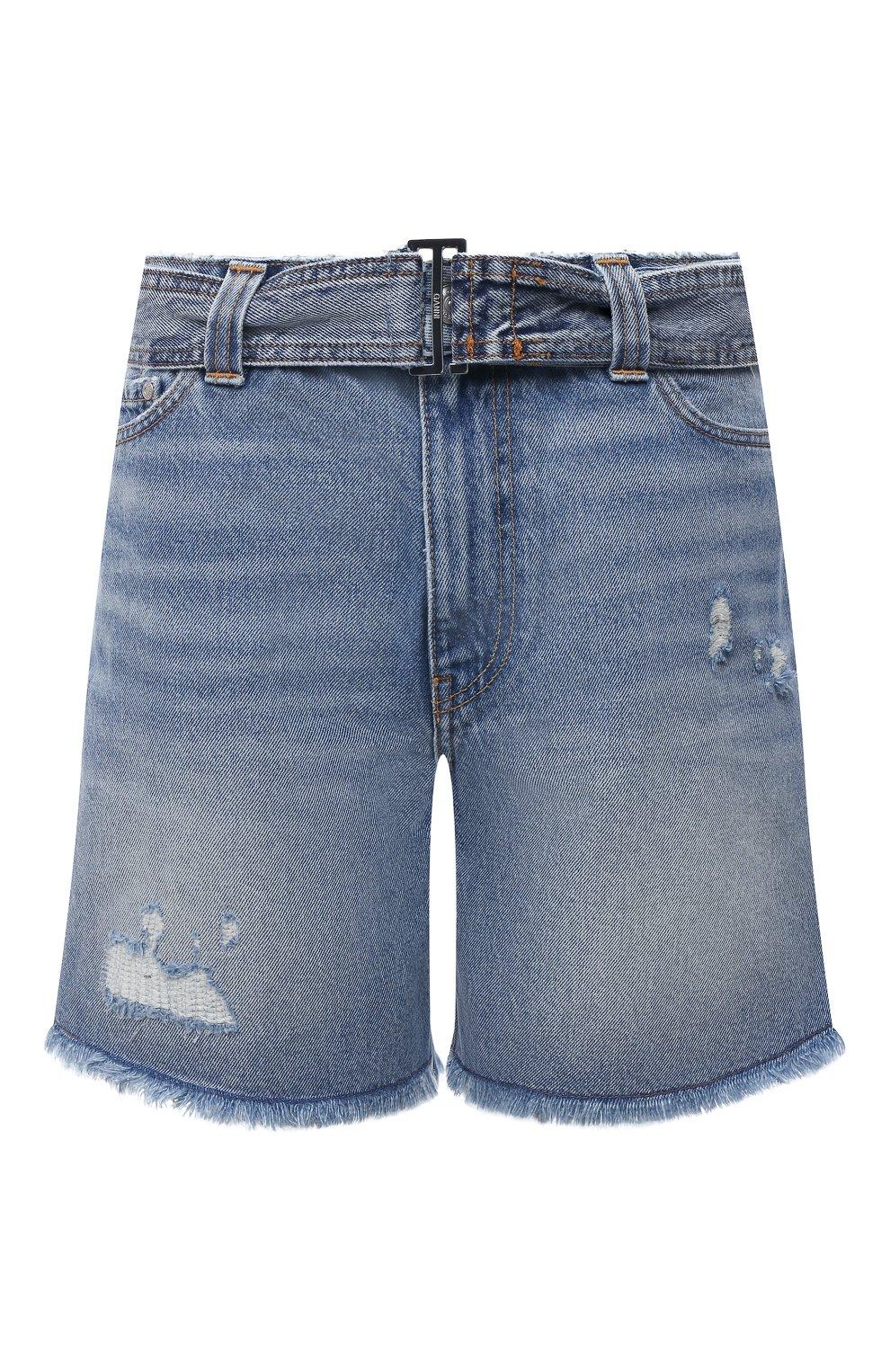 Женские джинсовые шорты GANNI синего цвета, арт. F5795 | Фото 1 (Женское Кросс-КТ: Шорты-одежда; Кросс-КТ: Деним; Длина Ж (юбки, платья, шорты): Мини; Материал внешний: Хлопок; Стили: Спорт-шик)
