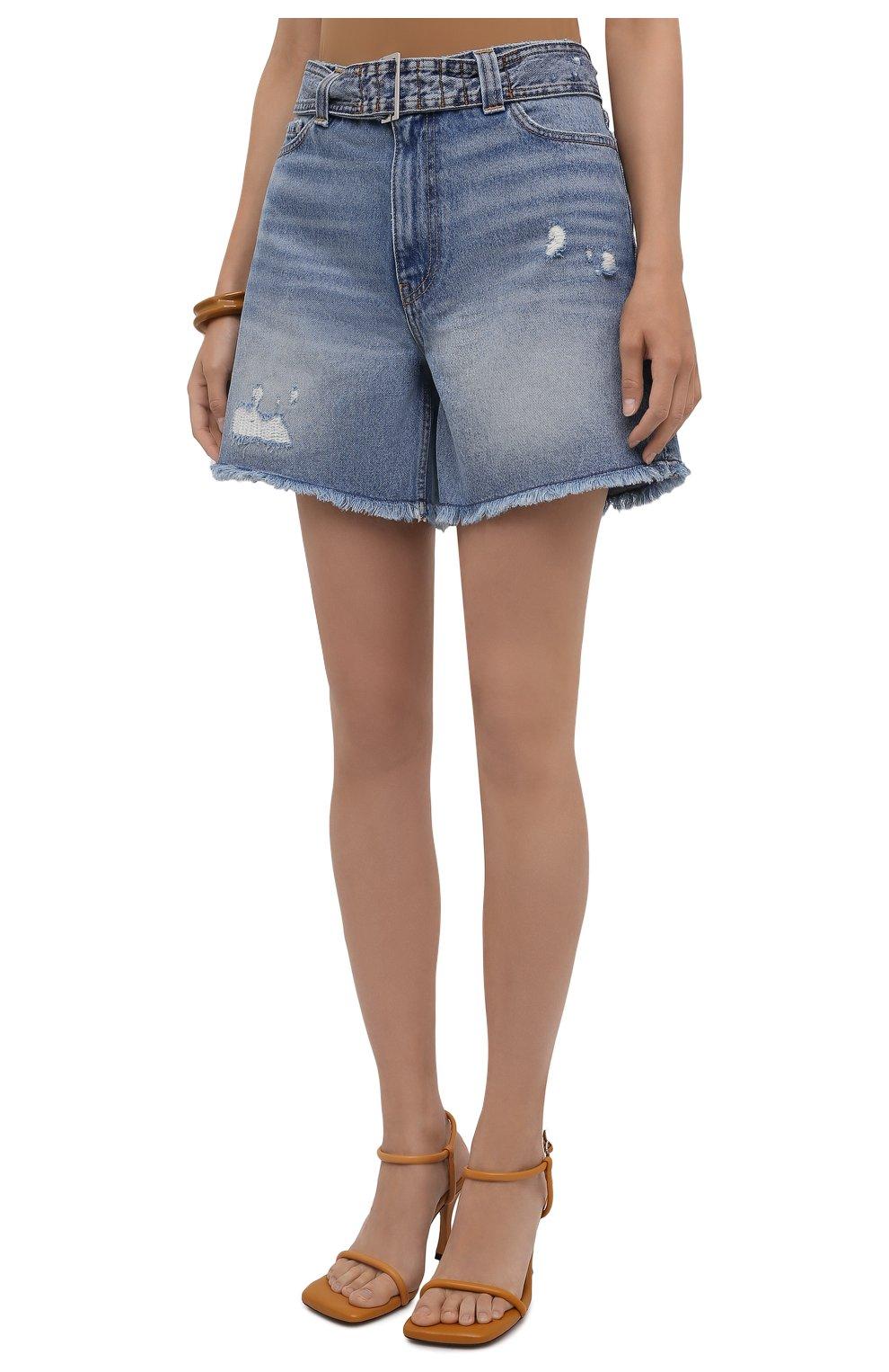 Женские джинсовые шорты GANNI синего цвета, арт. F5795 | Фото 3 (Женское Кросс-КТ: Шорты-одежда; Кросс-КТ: Деним; Длина Ж (юбки, платья, шорты): Мини; Материал внешний: Хлопок; Стили: Спорт-шик)