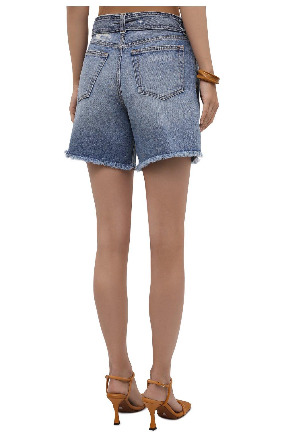 Женские джинсовые шорты GANNI синего цвета, арт. F5795 | Фото 4 (Женское Кросс-КТ: Шорты-одежда; Кросс-КТ: Деним; Длина Ж (юбки, платья, шорты): Мини; Материал внешний: Хлопок; Стили: Спорт-шик)