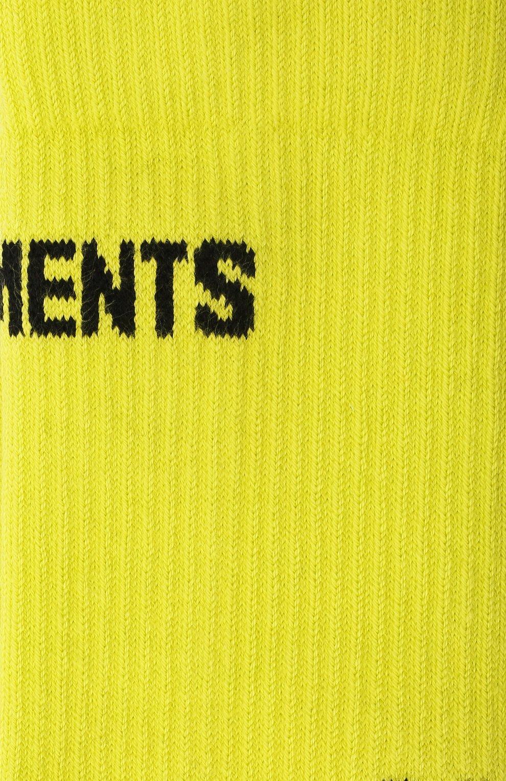 Женские хлопковые носки VETEMENTS желтого цвета, арт. UA52S0100Y 2906/W   Фото 2