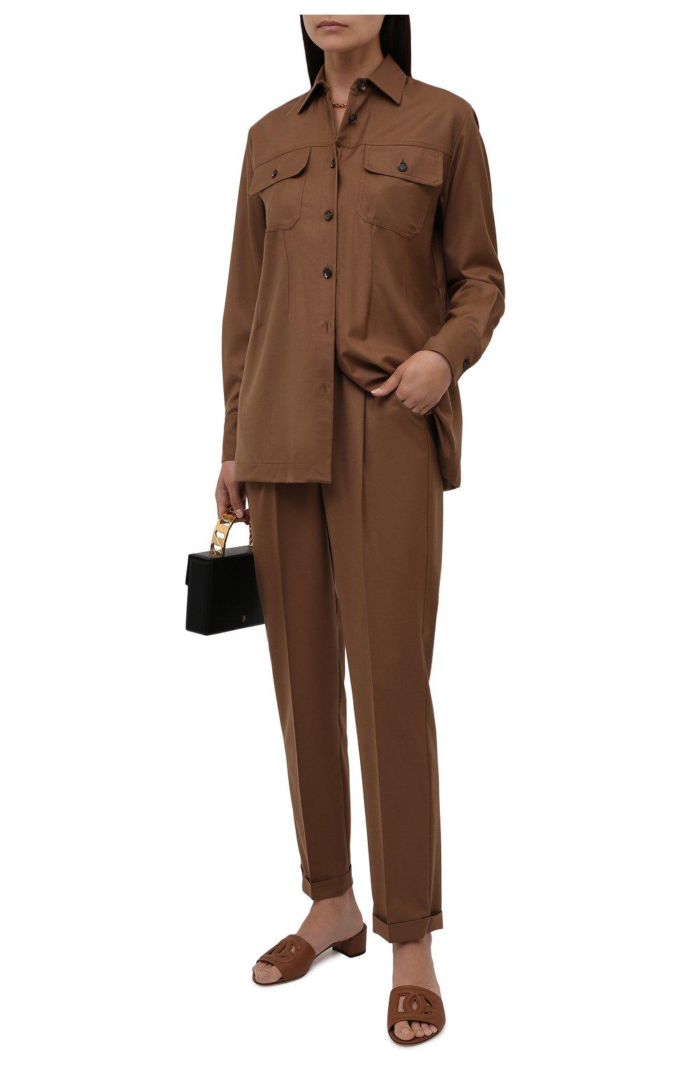 Женские шерстяные брюки KITON коричневого цвета, арт. D37102K01X48 | Фото 2