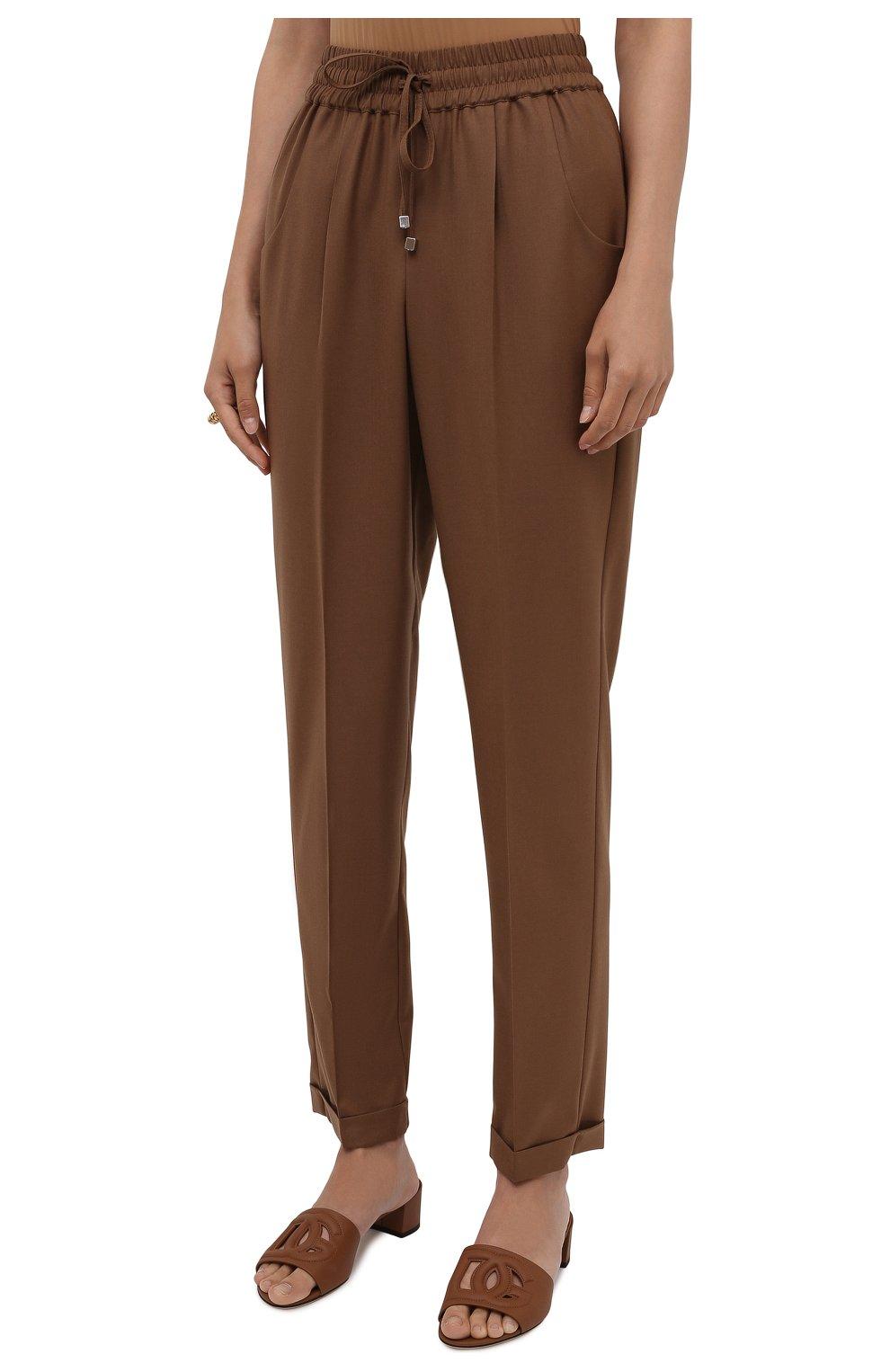 Женские шерстяные брюки KITON коричневого цвета, арт. D37102K01X48 | Фото 3