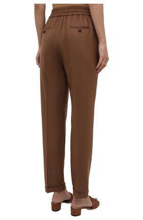 Женские шерстяные брюки KITON коричневого цвета, арт. D37102K01X48 | Фото 4