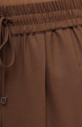 Женские шерстяные брюки KITON коричневого цвета, арт. D37102K01X48 | Фото 5