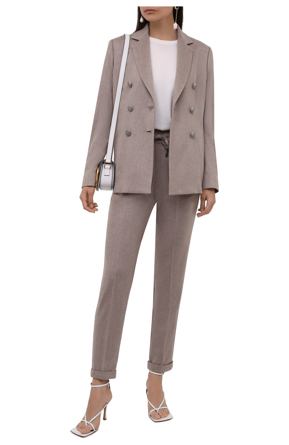 Женские кашемировые брюки KITON бежевого цвета, арт. D37102K0127A   Фото 2