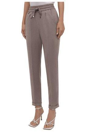 Женские кашемировые брюки KITON бежевого цвета, арт. D37102K0127A   Фото 3