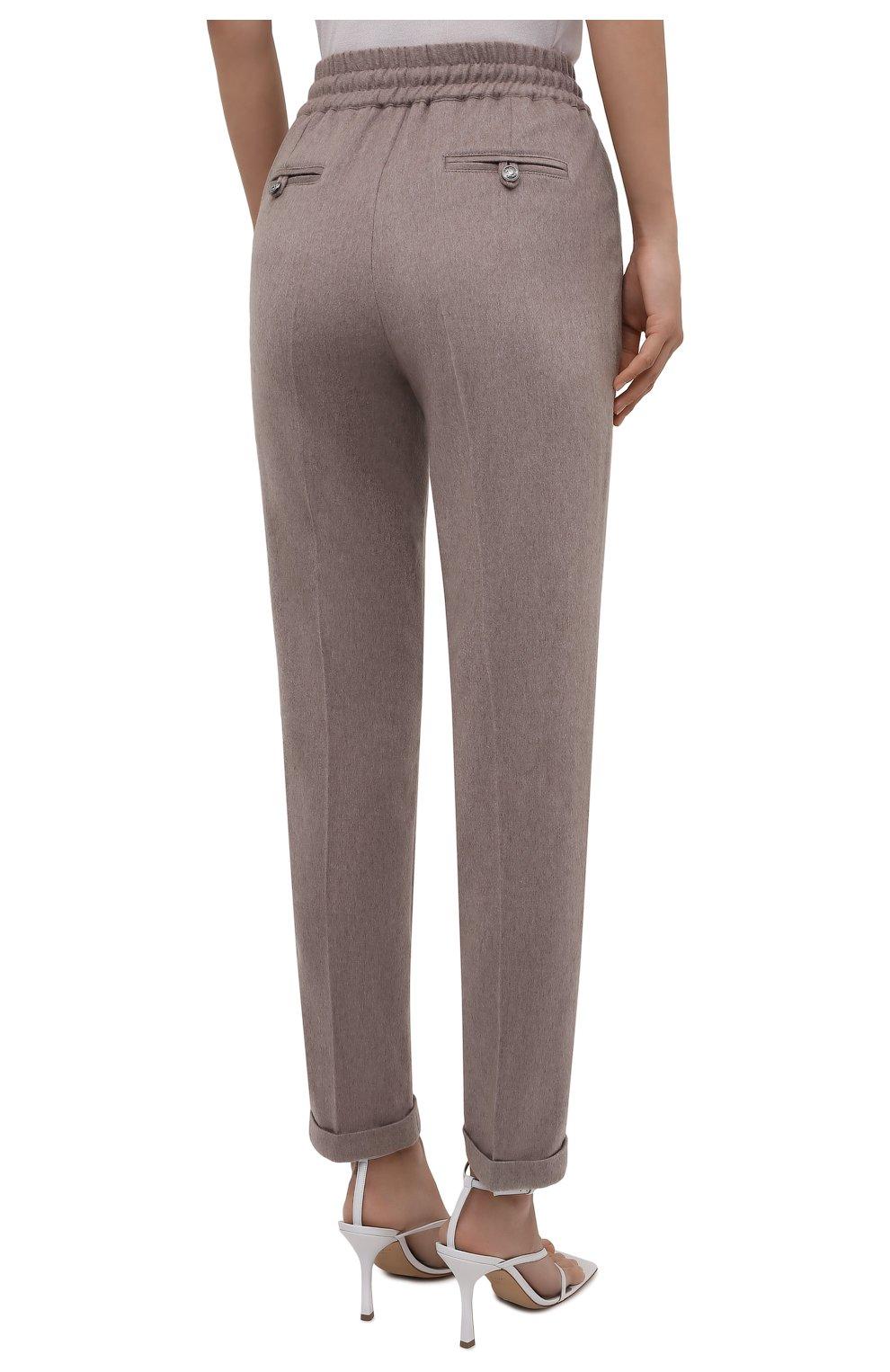 Женские кашемировые брюки KITON бежевого цвета, арт. D37102K0127A   Фото 4