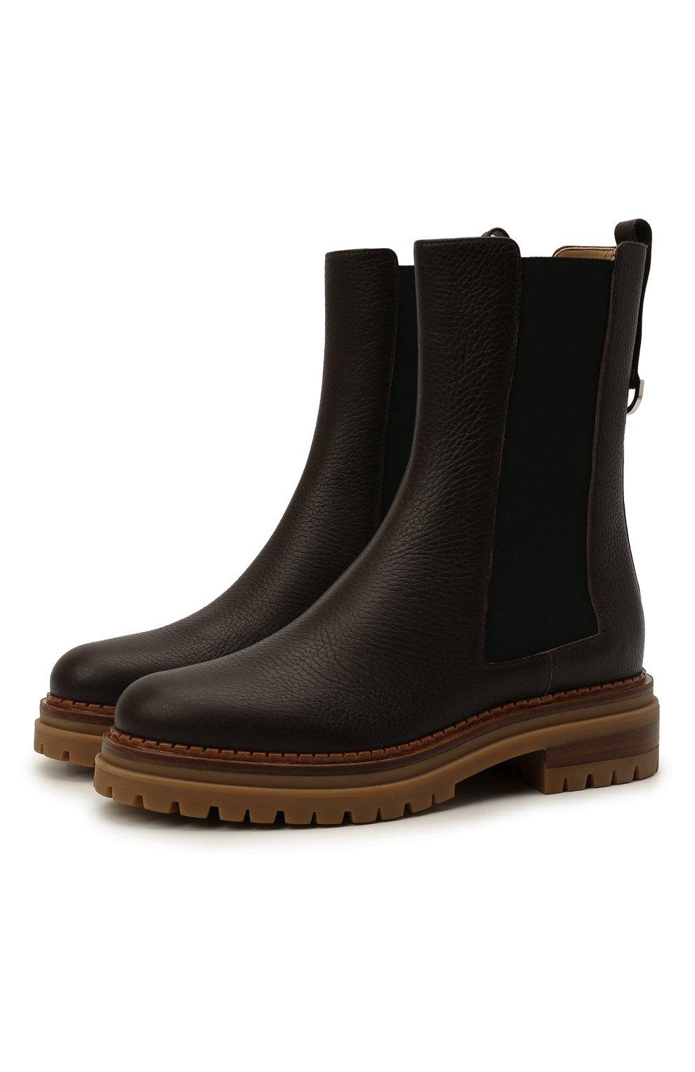 Женские кожаные ботинки sr joan SERGIO ROSSI коричневого цвета, арт. A92030-MMVR13   Фото 1