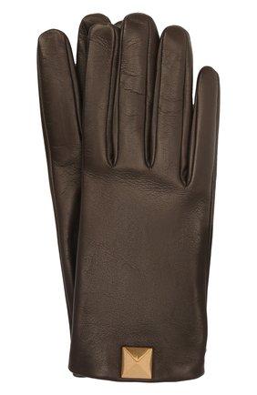 Женские кожаные перчатки VALENTINO темно-коричневого цвета, арт. WW2GDA00/TMD | Фото 1