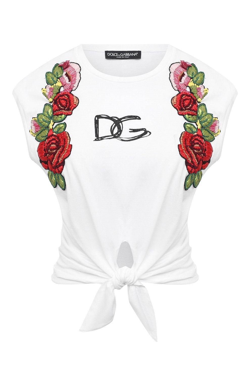 Женская хлопковая футболка DOLCE & GABBANA белого цвета, арт. F8M30Z/G7XAW | Фото 1
