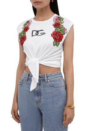 Женская хлопковая футболка DOLCE & GABBANA белого цвета, арт. F8M30Z/G7XAW | Фото 3
